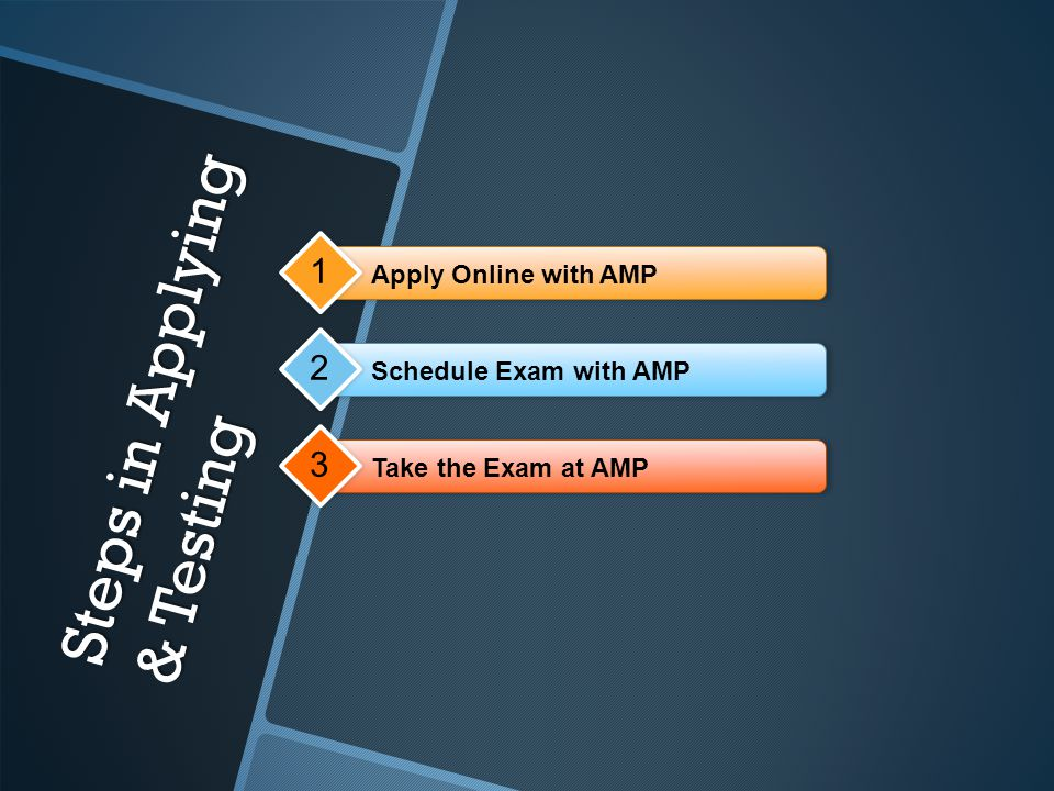 Steps in Applying & Testing Apply Online with AMP 1 Schedule Exam with AMP 2 Take the Exam at AMP 3