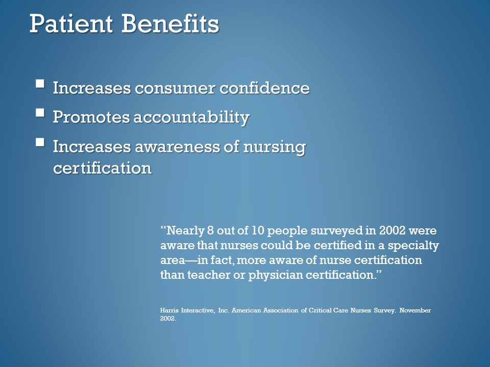Patient Benefits  Increases consumer confidence  Promotes accountability  Increases awareness of nursing certification Nearly 8 out of 10 people surveyed in 2002 were aware that nurses could be certified in a specialty area—in fact, more aware of nurse certification than teacher or physician certification. Harris Interactive, Inc.
