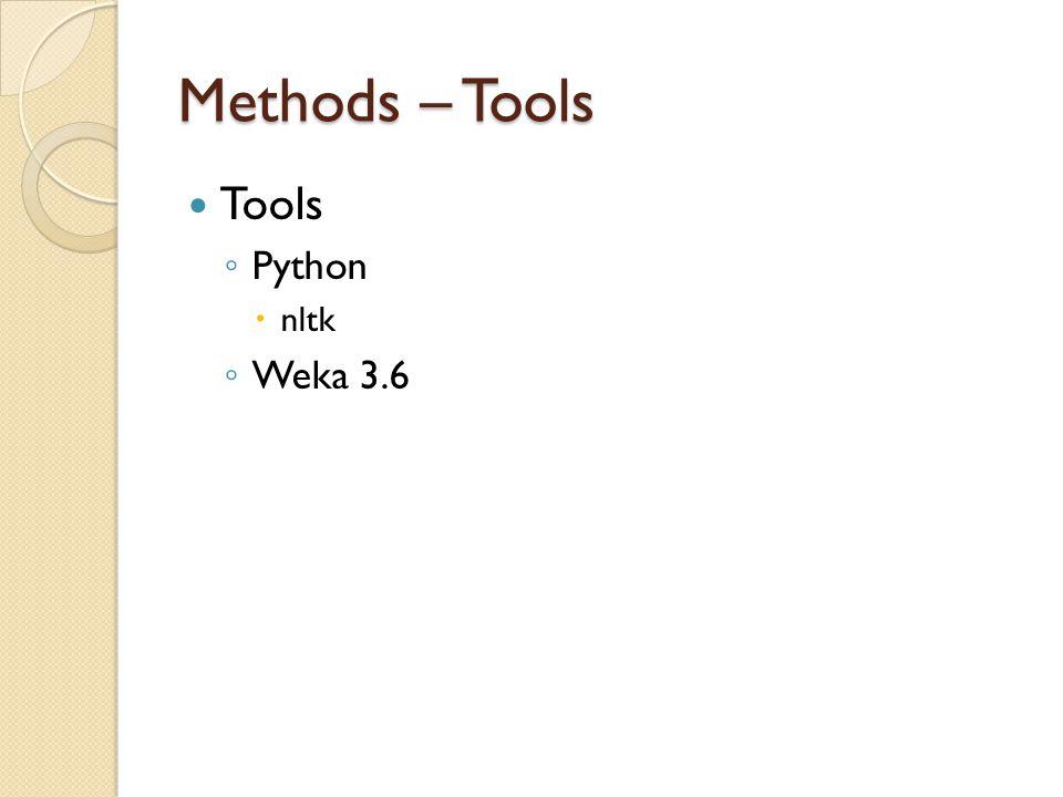 Methods – Tools Tools ◦ Python  nltk ◦ Weka 3.6