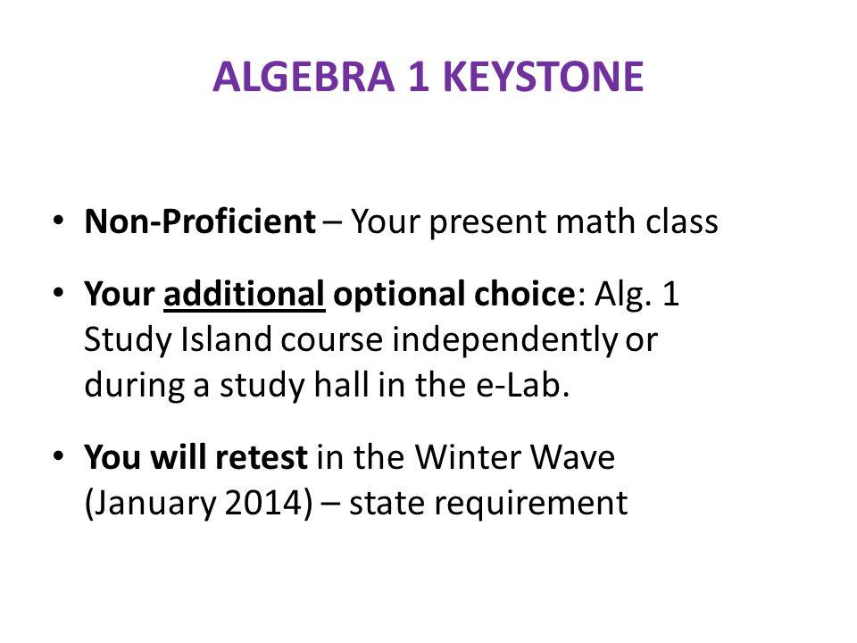 ALGEBRA 1 KEYSTONE Non-Proficient – Your present math class Your additional optional choice: Alg.