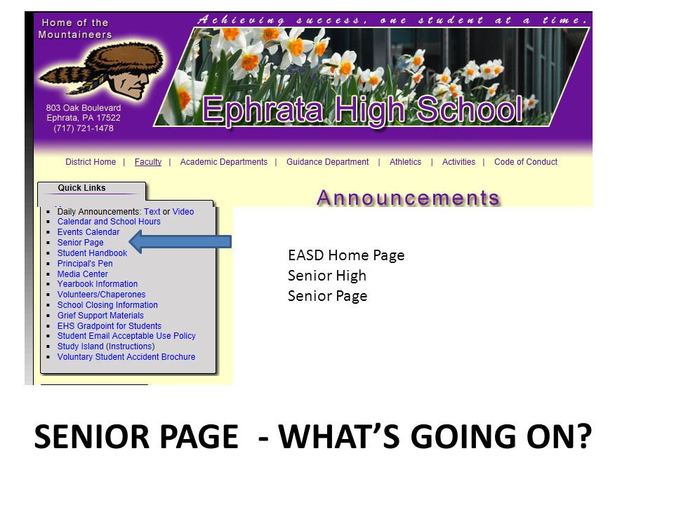 SENIOR PAGE - WHAT'S GOING ON EASD Home Page Senior High Senior Page