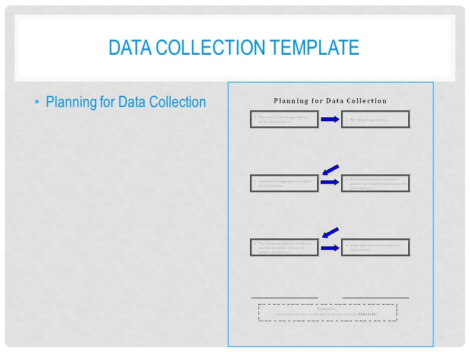 DATA COLLECTION TEMPLATE Planning for Data Collection