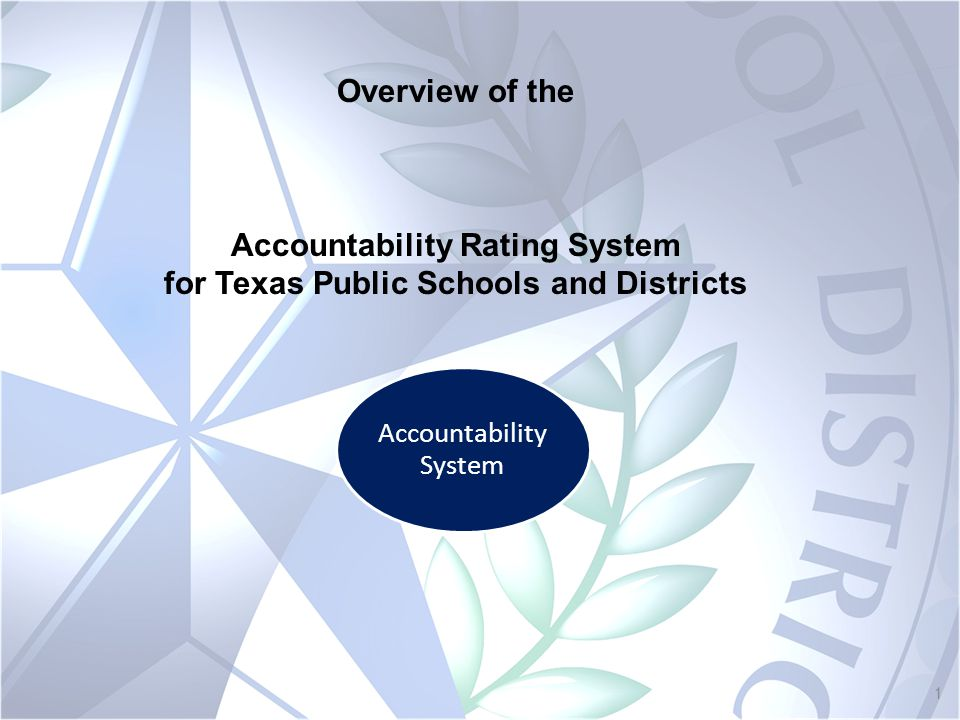 1 Accountability System Overview of the Accountability Rating System for Texas Public Schools and Districts