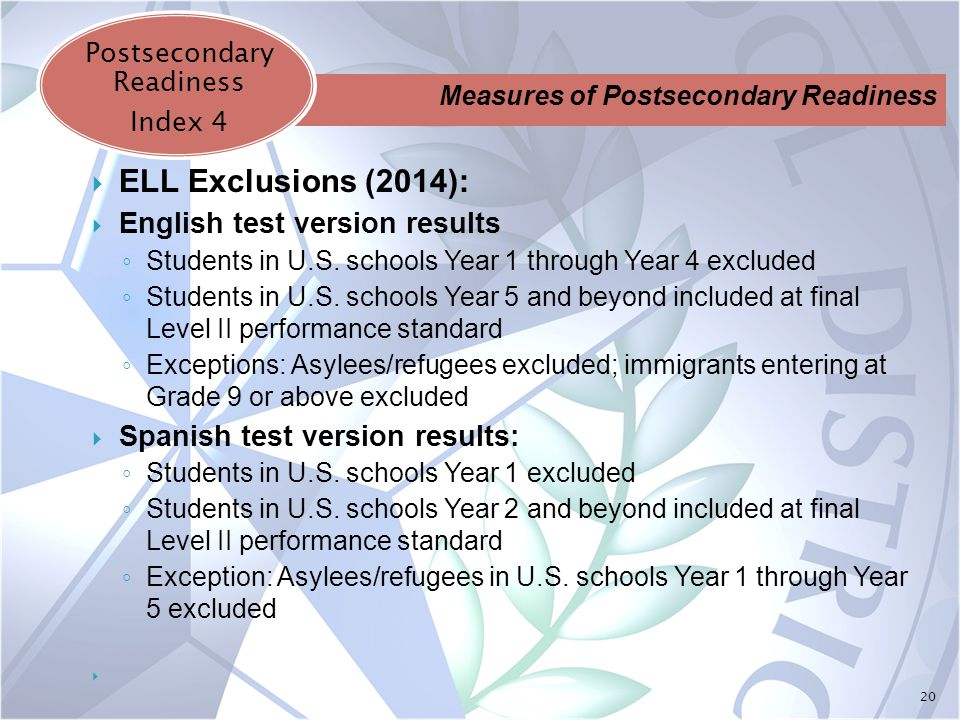 20  ELL Exclusions (2014):  English test version results ◦ Students in U.S.