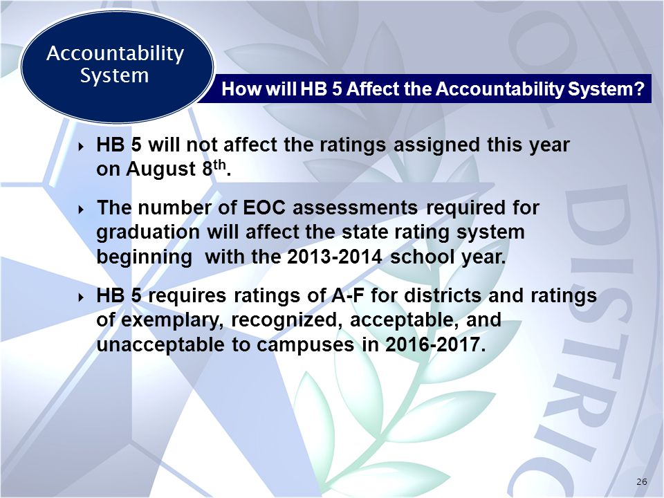 26  HB 5 will not affect the ratings assigned this year on August 8 th.  The number of EOC assessments required for graduation will affect the state