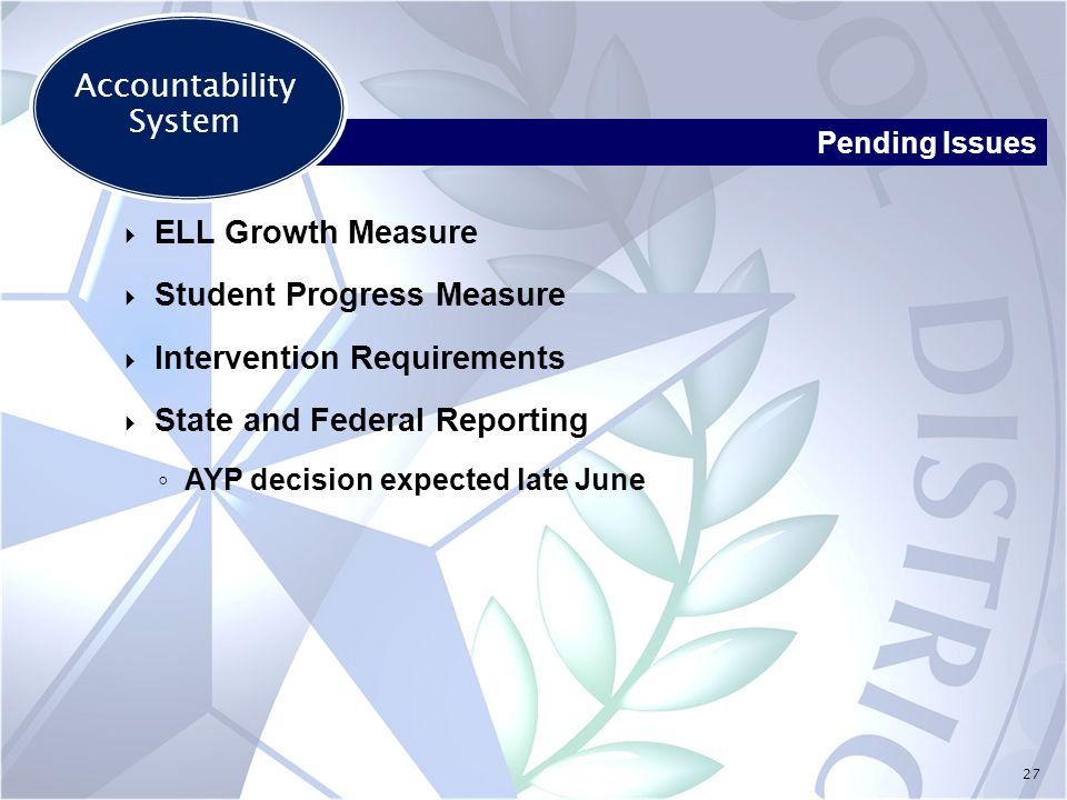 27  ELL Growth Measure  Student Progress Measure  Intervention Requirements  State and Federal Reporting ◦ AYP decision expected late June Pending