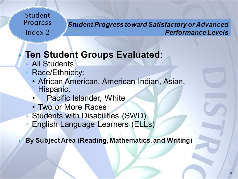 8  Ten Student Groups Evaluated: ◦ All Students ◦ Race/Ethnicity: African American, American Indian, Asian, Hispanic, Pacific Islander, White Two or More Races ◦ Students with Disabilities (SWD) ◦ English Language Learners (ELLs)  By Subject Area (Reading, Mathematics, and Writing) Student Progress Index 2