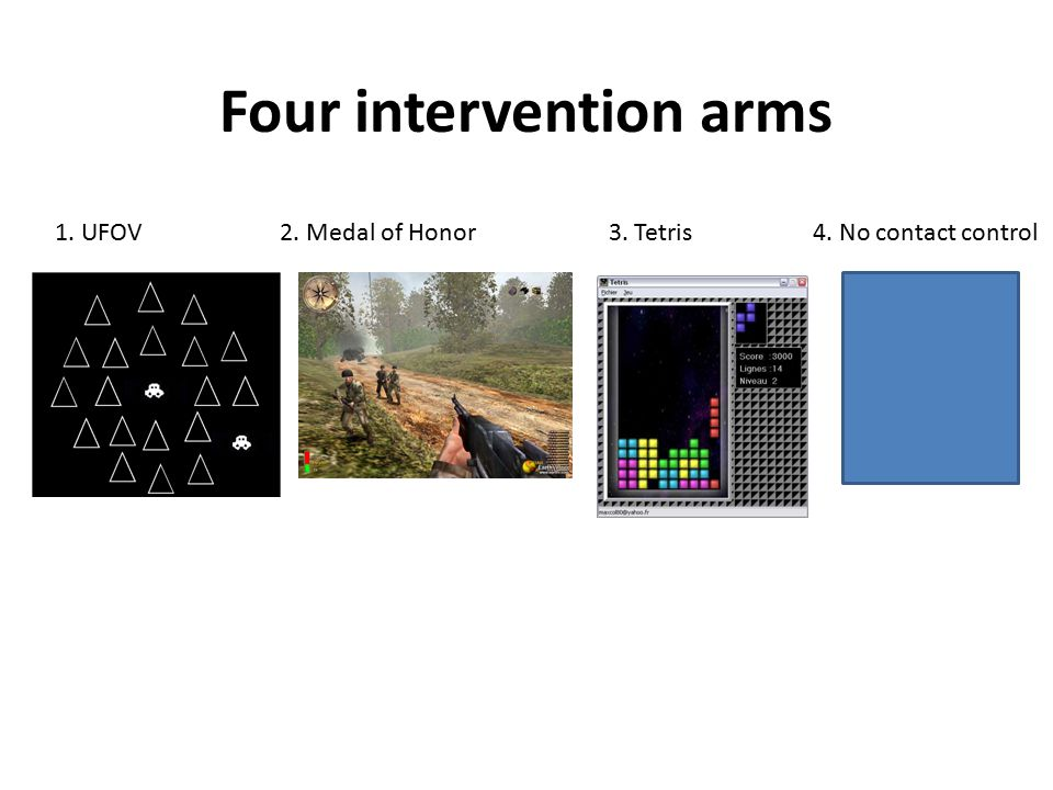 Four intervention arms 1. UFOV 2. Medal of Honor 3. Tetris 4. No contact control