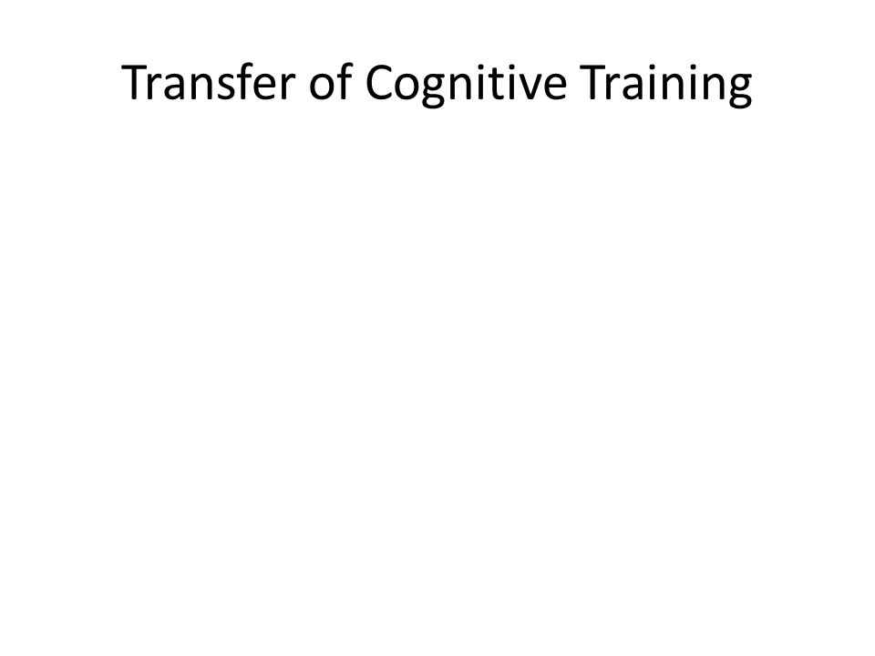 Transfer of Cognitive Training