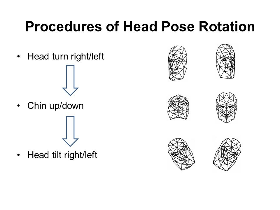 Procedures of Head Pose Rotation Head turn right/left Chin up/down Head tilt right/left