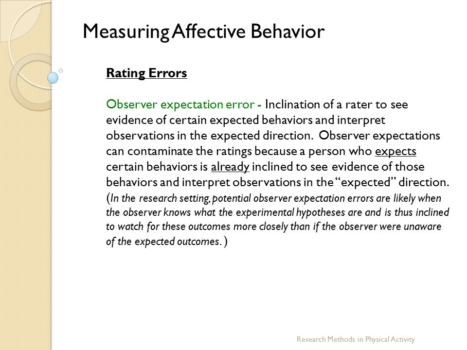 Research Methods in Physical Activity Measuring Affective Behavior Rating Errors Observer expectation error - Inclination of a rater to see evidence o