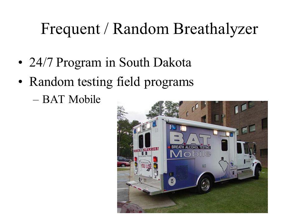 Frequent / Random Breathalyzer 24/7 Program in South Dakota Random testing field programs –BAT Mobile