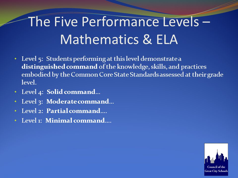 The Five Performance Levels – Mathematics & ELA Level 5: Students performing at this level demonstrate a distinguished command of the knowledge, skill