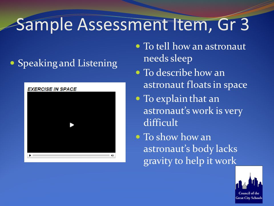 Sample Assessment Item, Gr 3 Speaking and Listening To tell how an astronaut needs sleep To describe how an astronaut floats in space To explain that