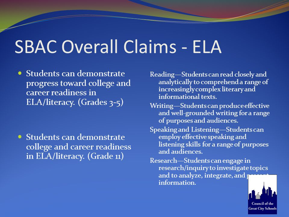 SBAC Overall Claims - ELA Students can demonstrate progress toward college and career readiness in ELA/literacy. (Grades 3-5) Students can demonstrate