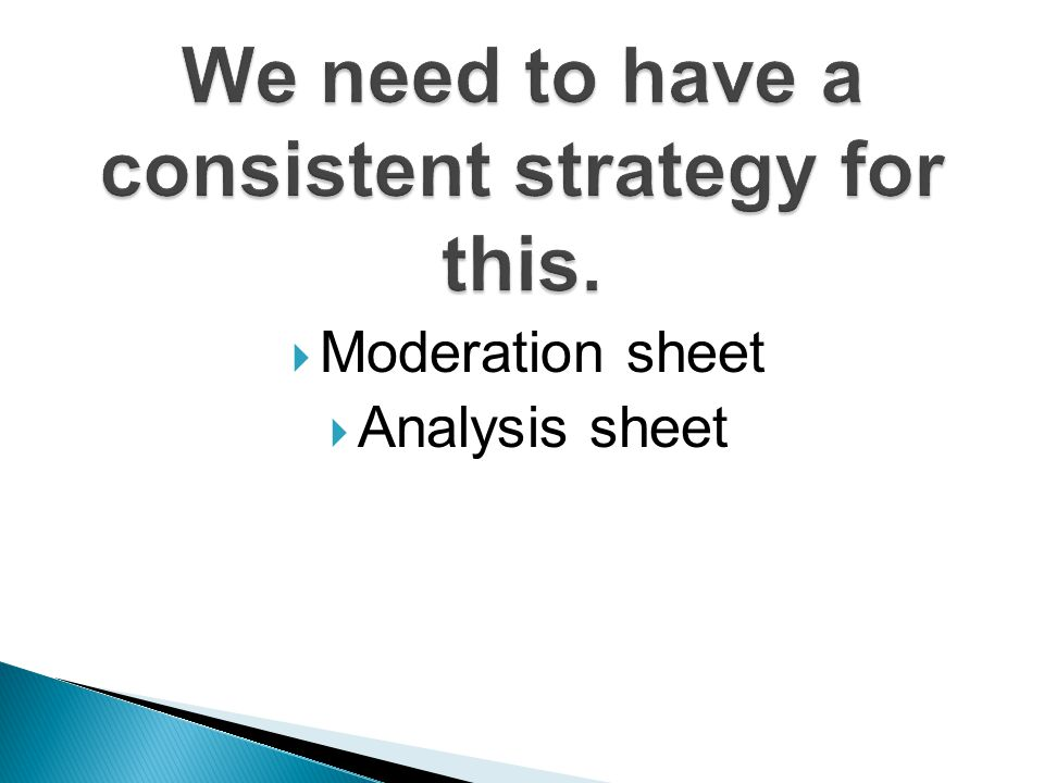  Moderation sheet  Analysis sheet