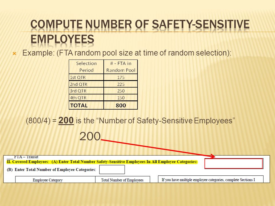  Example: (FTA random pool size at time of random selection): (800/4) = 200 is the Number of Safety-Sensitive Employees 200