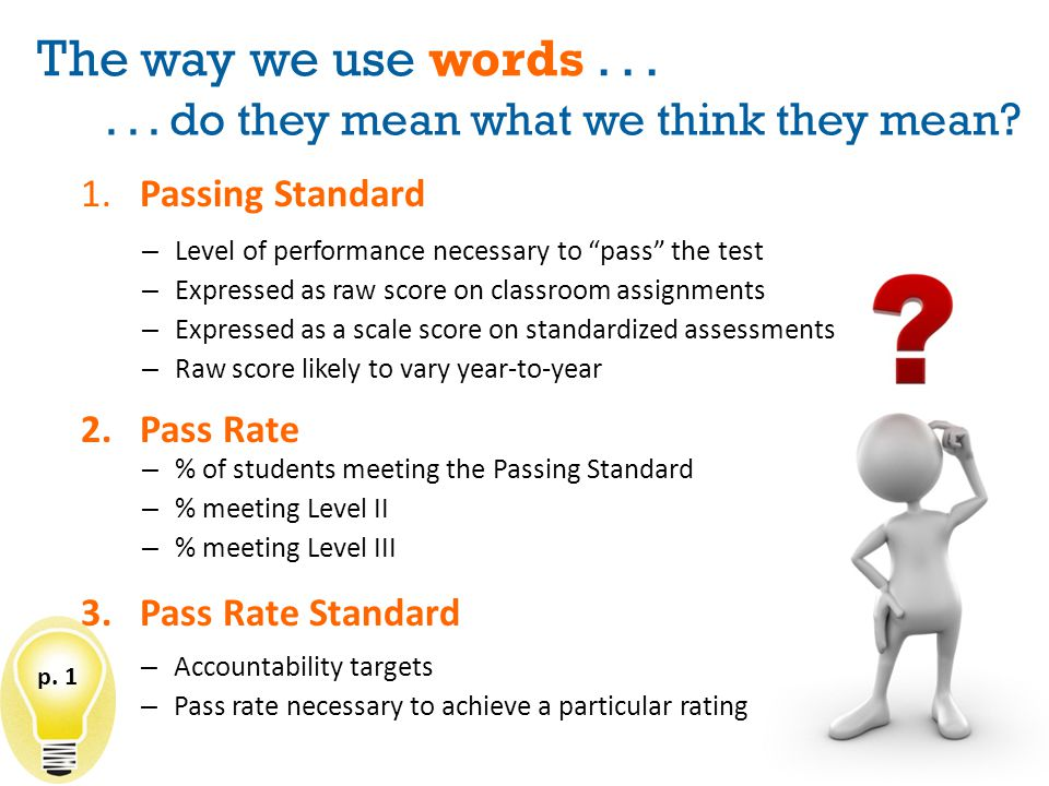 The way we use words...1.Passing Standard... do they mean what we think they mean.