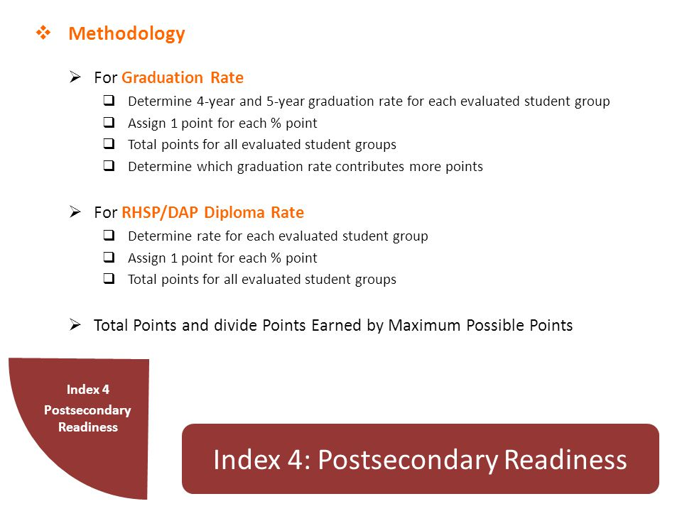  Methodology  For Graduation Rate  Determine 4-year and 5-year graduation rate for each evaluated student group  Assign 1 point for each % point  Total points for all evaluated student groups  Determine which graduation rate contributes more points  For RHSP/DAP Diploma Rate  Determine rate for each evaluated student group  Assign 1 point for each % point  Total points for all evaluated student groups  Total Points and divide Points Earned by Maximum Possible Points Index 4 Postsecondary Readiness Index 4: Postsecondary Readiness