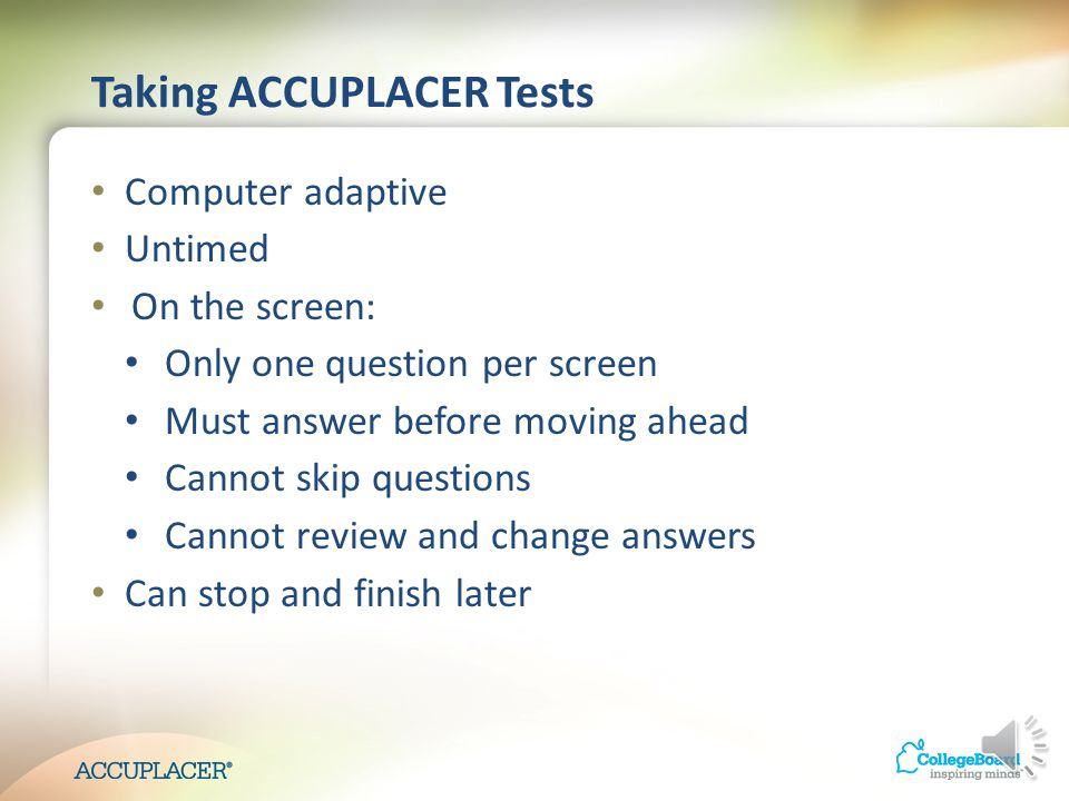 Preparing Students to Take ACCUPLACER
