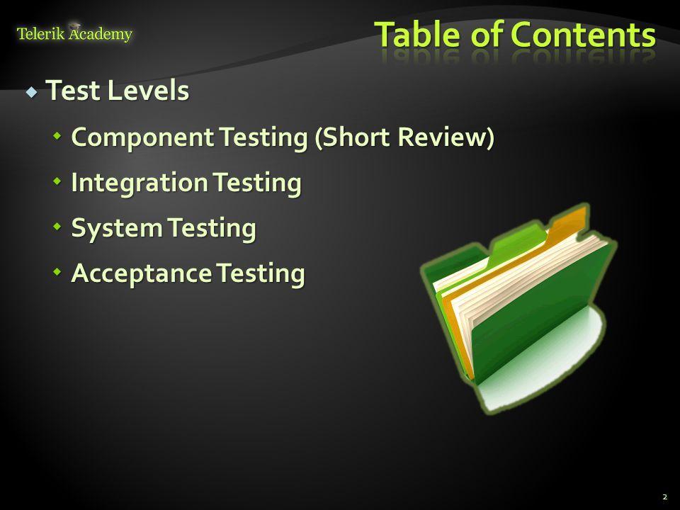  Test Levels  Component Testing (Short Review)  Integration Testing  System Testing  Acceptance Testing 2