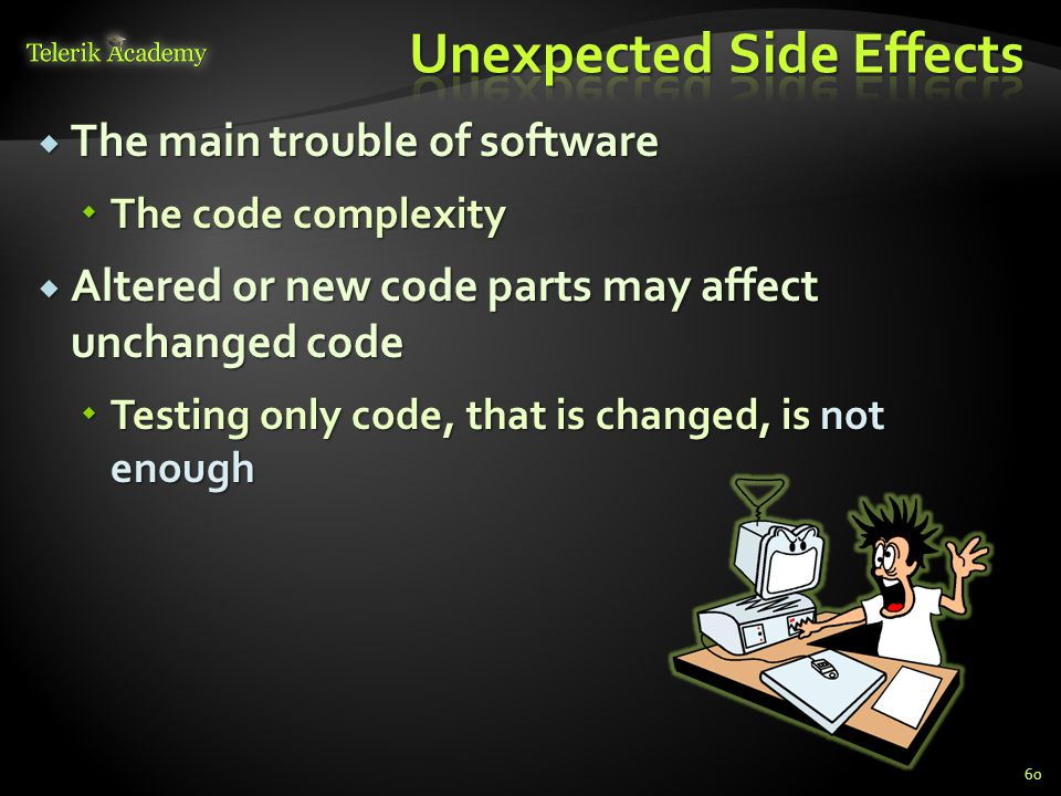  The main trouble of software  The code complexity  Altered or new code parts may affect unchanged code  Testing only code, that is changed, is not enough 60