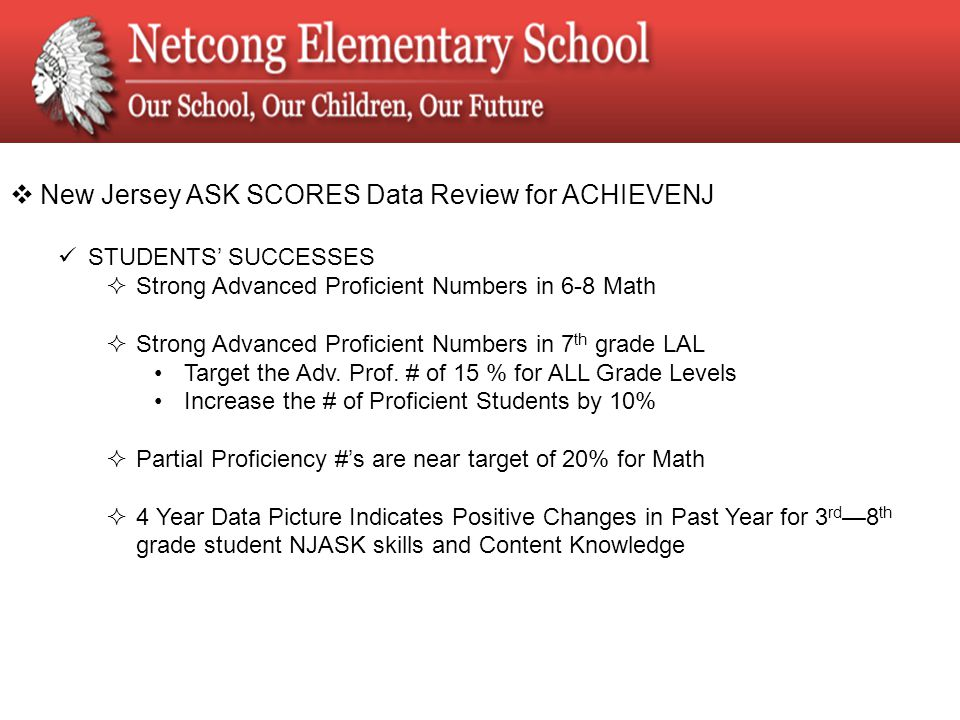  New Jersey ASK SCORES Data Review for ACHIEVENJ STUDENTS' SUCCESSES  Strong Advanced Proficient Numbers in 6-8 Math  Strong Advanced Proficient Numbers in 7 th grade LAL Target the Adv.