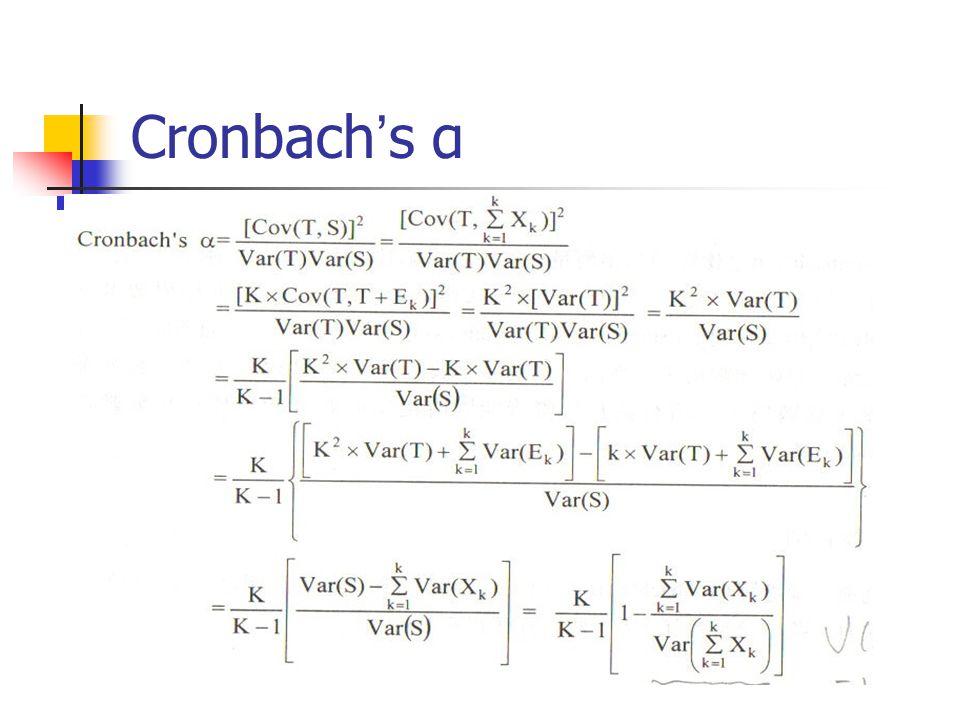 Cronbach ' s α