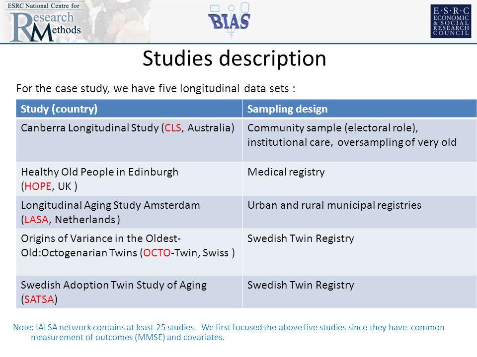 Studies description For the case study, we have five longitudinal data sets : Note: IALSA network contains at least 25 studies.