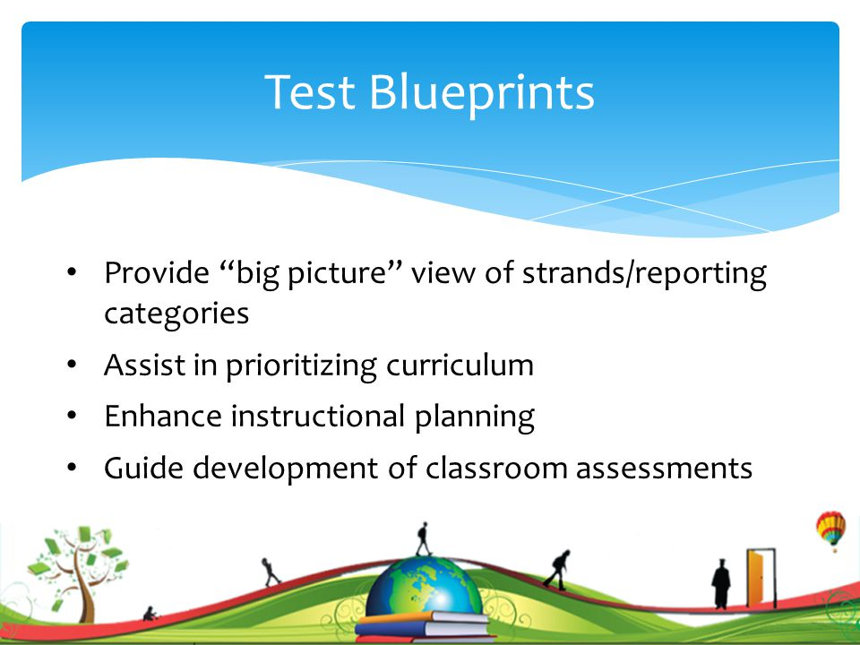 Test Blueprints Provide big picture view of strands/reporting categories Assist in prioritizing curriculum Enhance instructional planning Guide development of classroom assessments