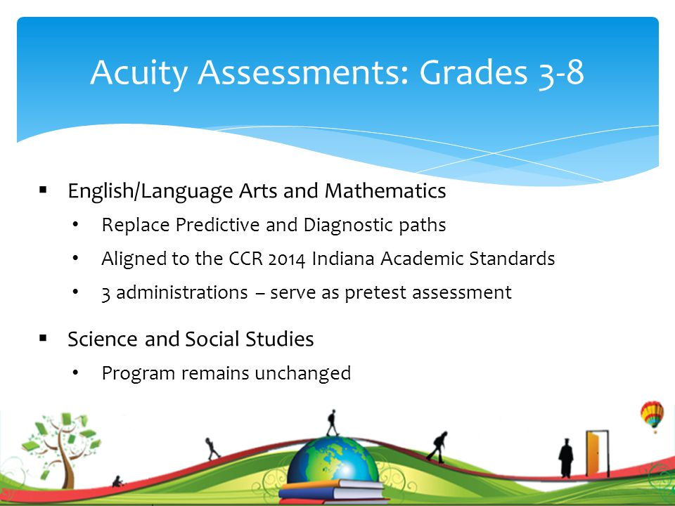 Acuity Assessments: Grades 3-8  English/Language Arts and Mathematics Replace Predictive and Diagnostic paths Aligned to the CCR 2014 Indiana Academic Standards 3 administrations – serve as pretest assessment  Science and Social Studies Program remains unchanged