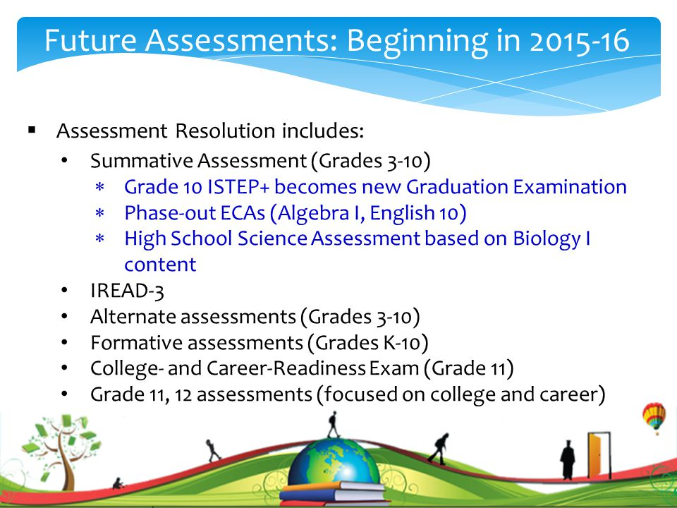 . Future Assessments: Beginning in 2015-16  Assessment Resolution includes: Summative Assessment (Grades 3-10)  Grade 10 ISTEP+ becomes new Graduation Examination  Phase-out ECAs (Algebra I, English 10)  High School Science Assessment based on Biology I content IREAD-3 Alternate assessments (Grades 3-10) Formative assessments (Grades K-10) College- and Career-Readiness Exam (Grade 11) Grade 11, 12 assessments (focused on college and career)