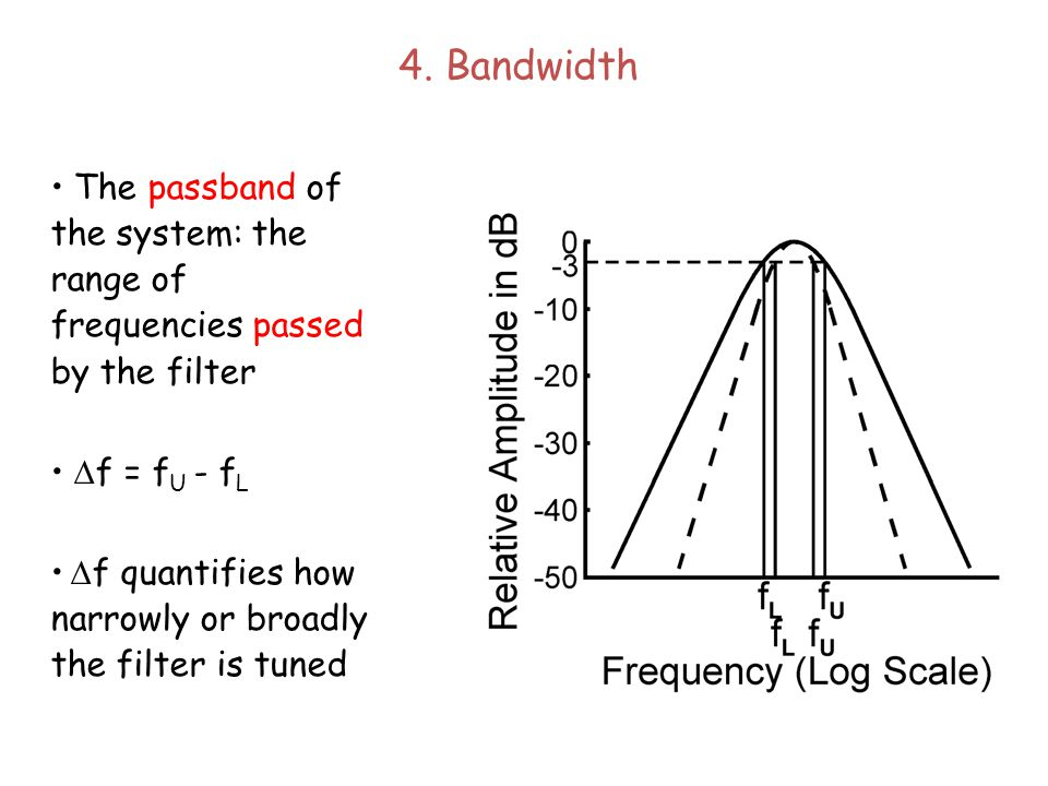 3. Lower Cutoff Frequency The frequency below f C for which the amplitude of the response is 3 dB less than the response at f C The 3dB down point