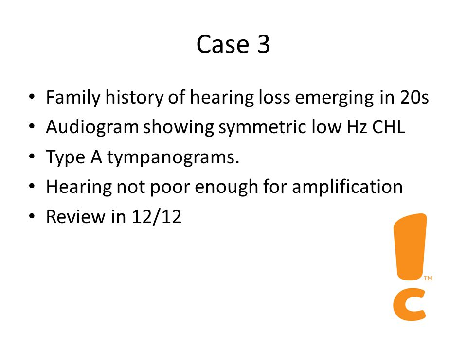 Case 2 Serial cotton bud abuser Recent discomfort and noticed that hearing is dull Otoscopy shows large wax plug on TM Audiogram shows mild high Hz CHL Tympanometry shows As (normal ECV) Mass loading of TM reduces high Hz transmission.