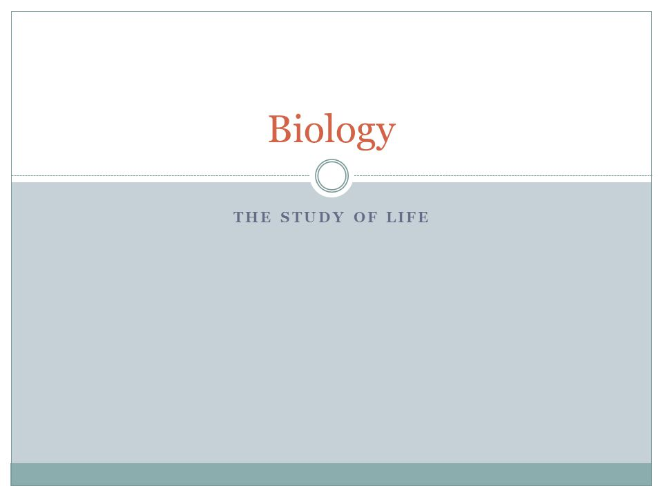 THE STUDY OF LIFE Biology
