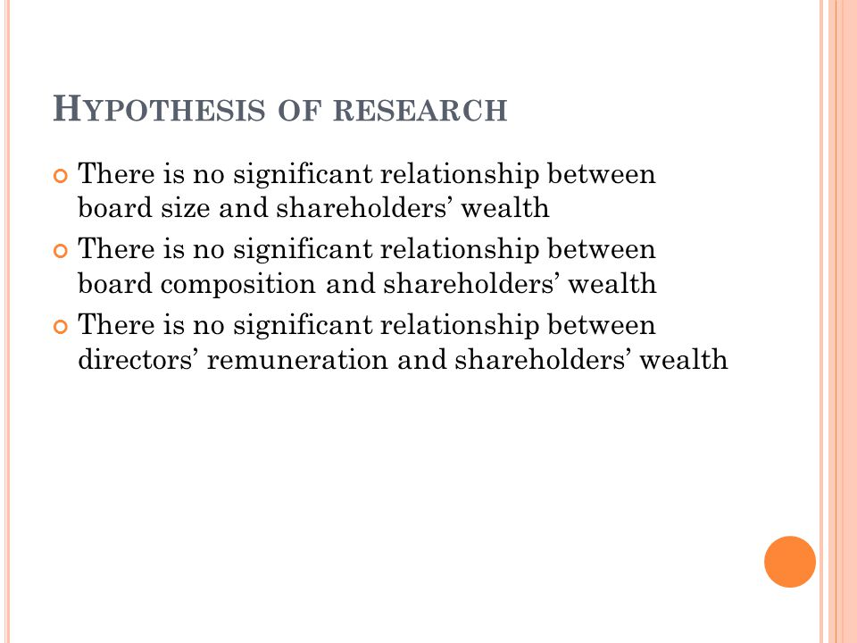 H YPOTHESIS OF RESEARCH There is no significant relationship between board size and shareholders' wealth There is no significant relationship between board composition and shareholders' wealth There is no significant relationship between directors' remuneration and shareholders' wealth
