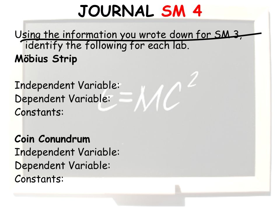 Using the information you wrote down for SM 3, identify the following for each lab.