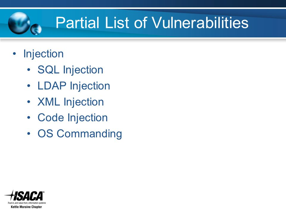 Partial List of Vulnerabilities Injection SQL Injection LDAP Injection XML Injection Code Injection OS Commanding
