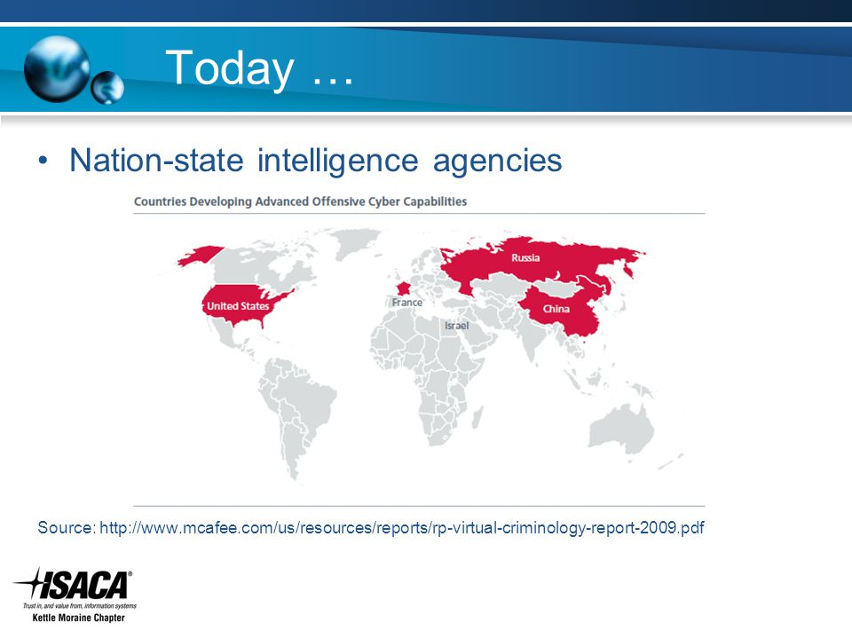 Today … Nation-state intelligence agencies Source: http://www.mcafee.com/us/resources/reports/rp-virtual-criminology-report-2009.pdf