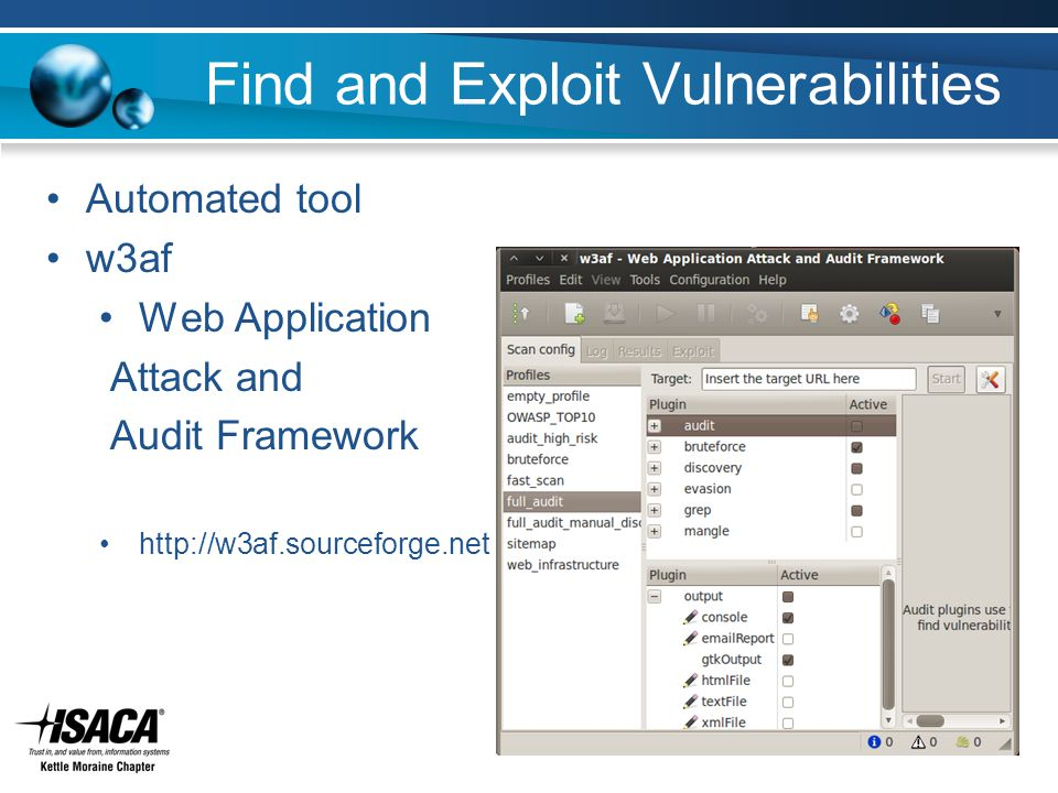 Find and Exploit Vulnerabilities Automated tool w3af Web Application Attack and Audit Framework http://w3af.sourceforge.net