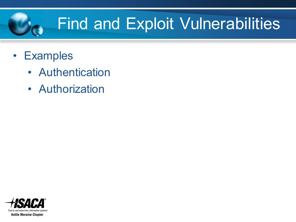 Find and Exploit Vulnerabilities Examples Authentication Authorization