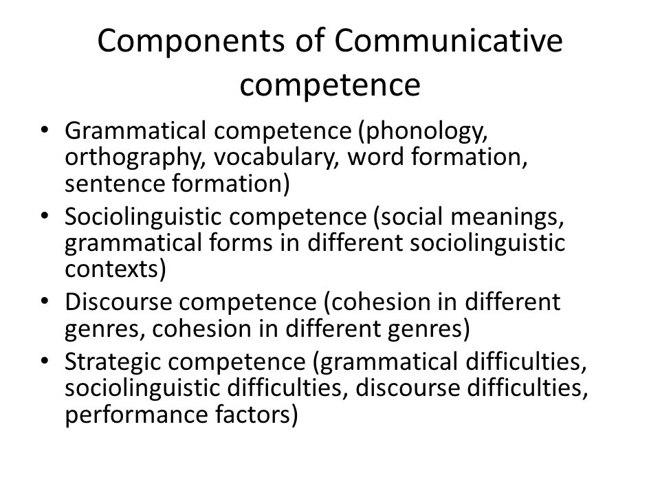 Components of Communicative competence Grammatical competence (phonology, orthography, vocabulary, word formation, sentence formation) Sociolinguistic competence (social meanings, grammatical forms in different sociolinguistic contexts) Discourse competence (cohesion in different genres, cohesion in different genres) Strategic competence (grammatical difficulties, sociolinguistic difficulties, discourse difficulties, performance factors)