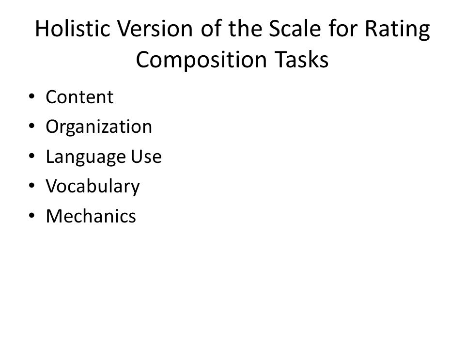 Holistic Version of the Scale for Rating Composition Tasks Content Organization Language Use Vocabulary Mechanics