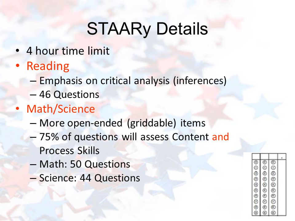 STAARy Details 4 hour time limit Reading – Emphasis on critical analysis (inferences) – 46 Questions Math/Science – More open-ended (griddable) items – 75% of questions will assess Content and Process Skills – Math: 50 Questions – Science: 44 Questions