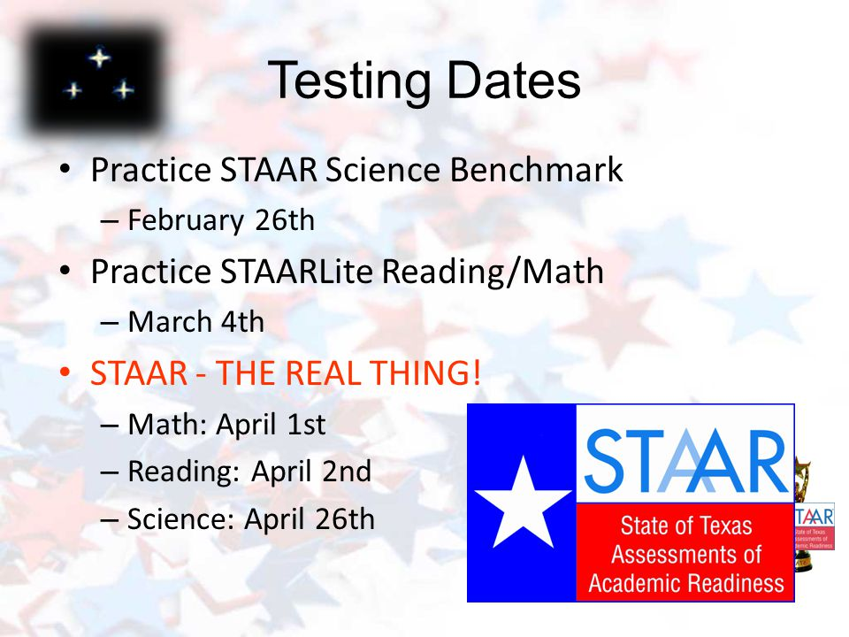 How are we preparing for STAAR. Tuesday/Thursday Spring Workshops STAAR Bootcamp has begun.