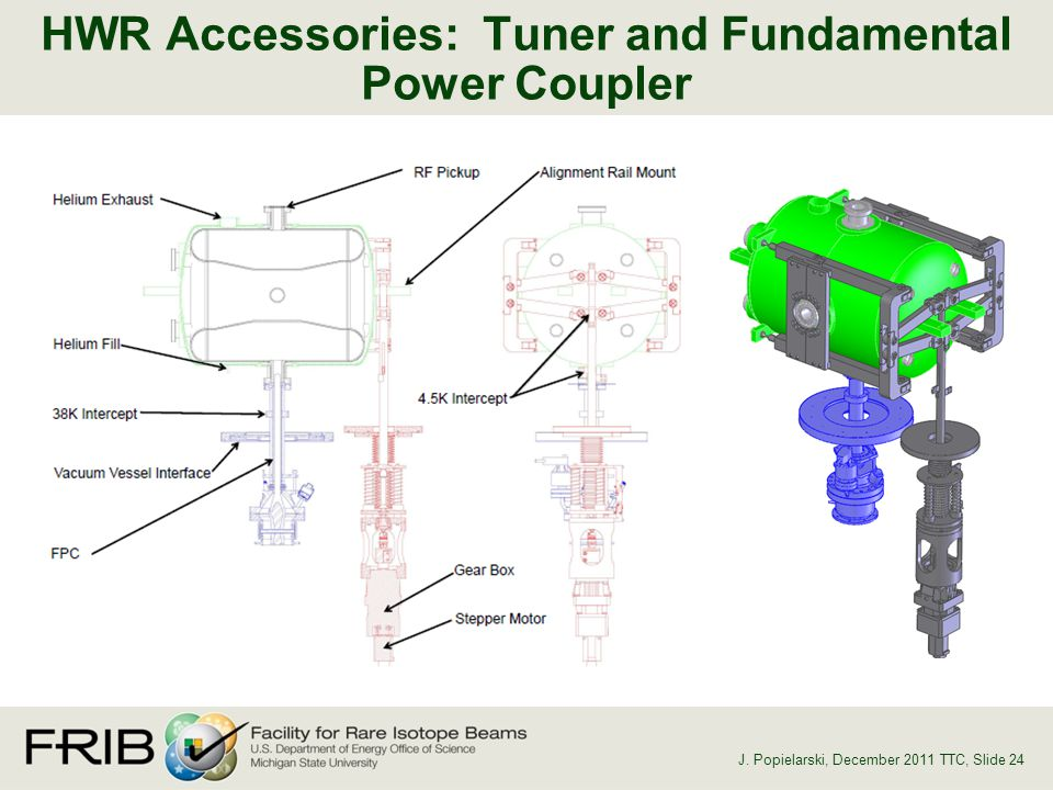 HWR Accessories: Tuner and Fundamental Power Coupler J. Popielarski, December 2011 TTC, Slide 24