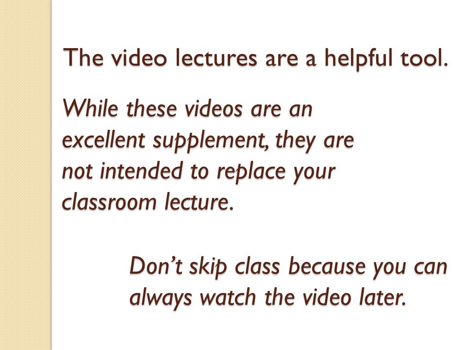The video lectures are a helpful tool.