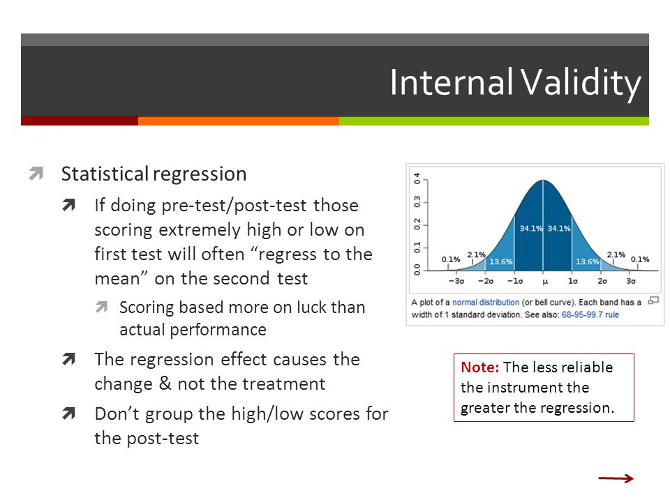 Internal Validity  Statistical regression  If doing pre-test/post-test those scoring extremely high or low on first test will often regress to the mean on the second test  Scoring based more on luck than actual performance  The regression effect causes the change & not the treatment  Don't group the high/low scores for the post-test Note: The less reliable the instrument the greater the regression.