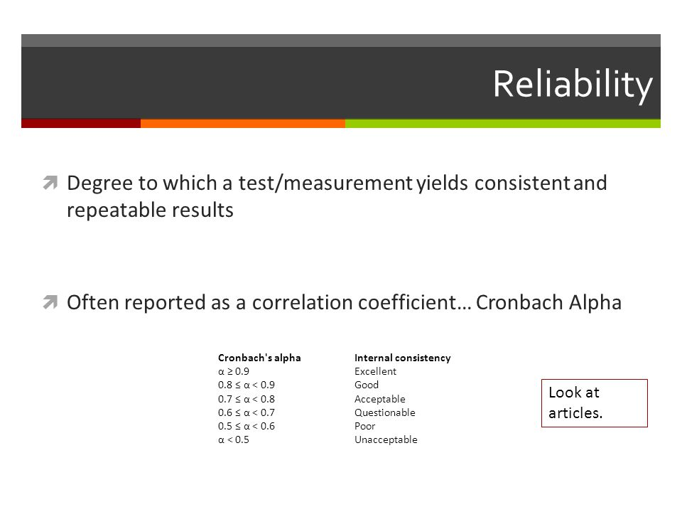 Reliability  Degree to which a test/measurement yields consistent and repeatable results  Often reported as a correlation coefficient… Cronbach Alpha Cronbach s alphaInternal consistency α ≥ 0.9Excellent 0.8 ≤ α < 0.9Good 0.7 ≤ α < 0.8Acceptable 0.6 ≤ α < 0.7Questionable 0.5 ≤ α < 0.6Poor α < 0.5Unacceptable Look at articles.
