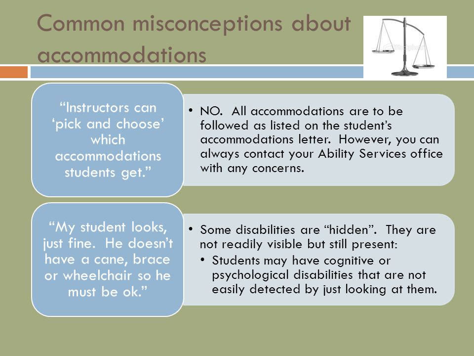 Common misconceptions about accommodations NO.
